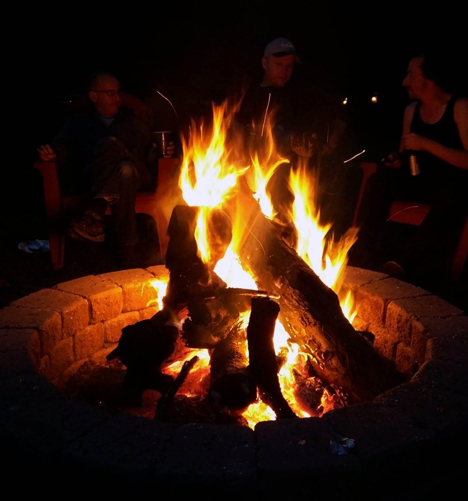 redmond fire pit greg bem with friends